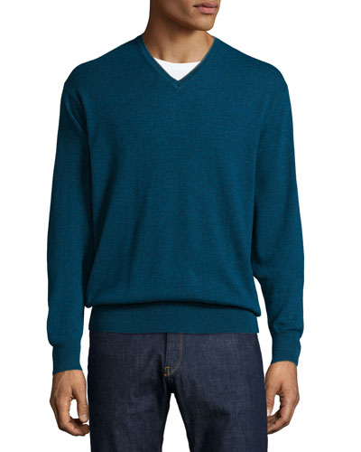 Cashmere-Blend V-Neck Sweater, Green