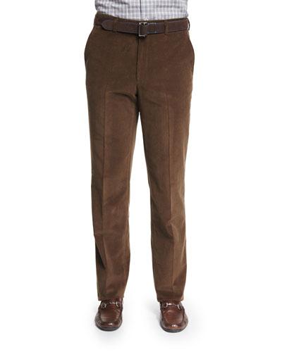 Cashmere-Blend Italian Corduroy Pants, Brown