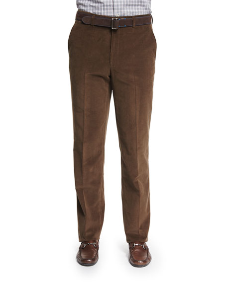 Peter Millar Cashmere-Blend Italian Corduroy Pants, Brown