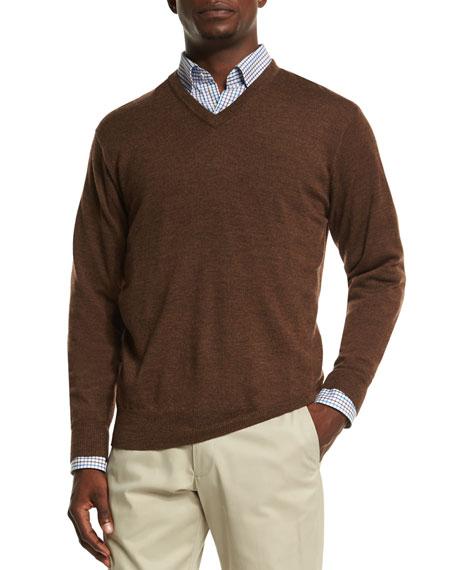 Peter Millar Merino Wool V Neck Sweater Brown