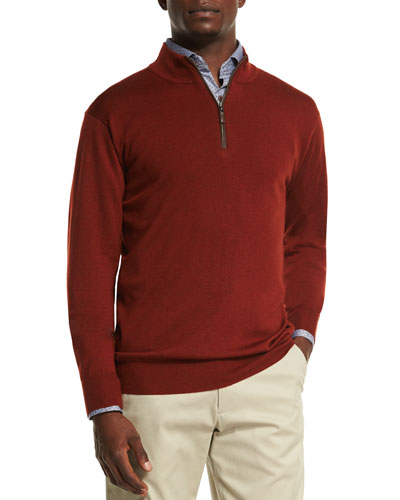 Leather-Placket Quarter-Zip Pullover Sweater, Rust