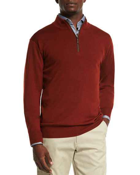 Peter Millar Leather-Placket Quarter-Zip Pullover Sweater, Rust