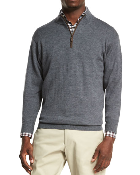 Peter Millar Leather-Placket Quarter-Zip Pullover Sweater, Charcoal