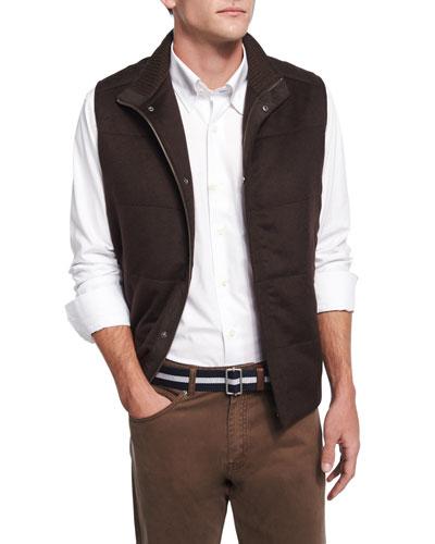 Devon Cashmere-Blend Quilted Vest, Brown