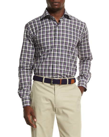 Cannes Tattersall Sport Shirt, Purple