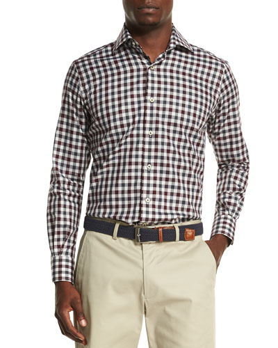 Firenze Check Sport Shirt, Red
