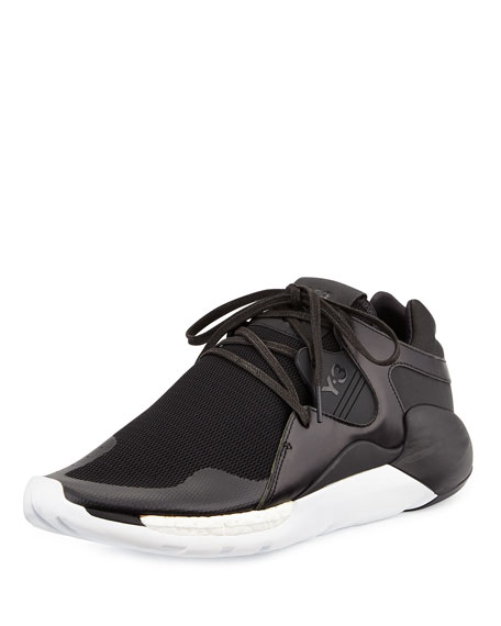 Y-3 QR Run Leather-Mesh Sneaker, Black