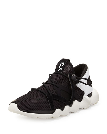 Y-3 Kyujo Leather Low-Top Sneaker, Black/White