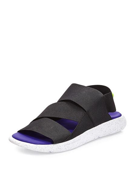 Y-3 Qasa Strappy Slide-On Sandal, White/Black/Purple
