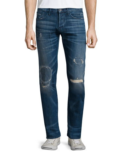 M5 Rubble Low-Rise Patched Denim Jeans, Light Blue