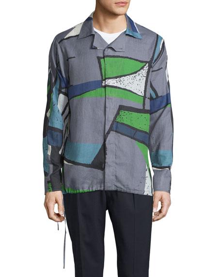 Berluti Colorblock Abstract-Print Woven Shirt, Dark Gray