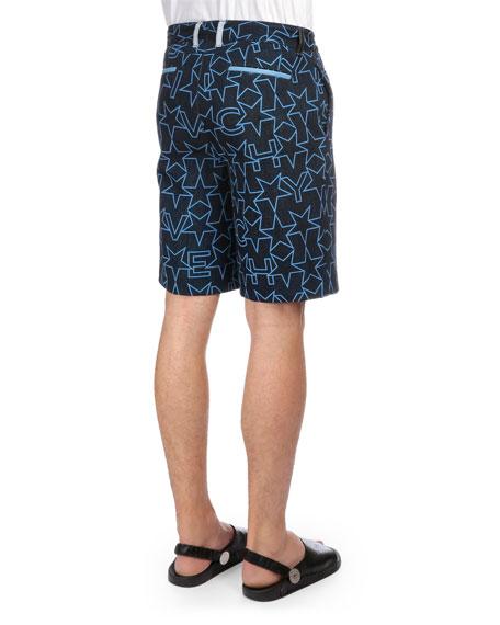 Star-Print Flat-Front Shorts, Navy