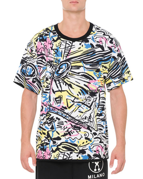 Moschino Reversible Printed Short-Sleeve T-Shirt, Dark Gray