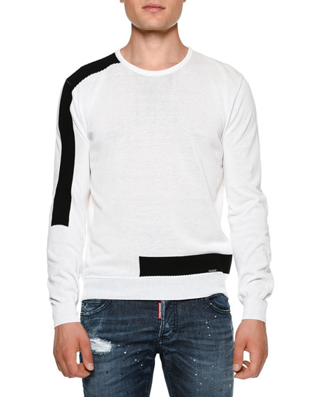 Dsquared2 Contrast-Banded Crewneck Sweater, White