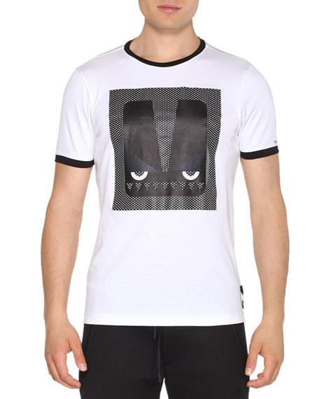 Fendi Ringer Monster Eyes Short-Sleeve T-Shirt, White