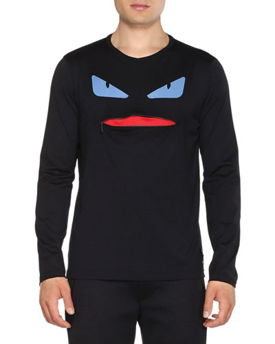 Monster Long-Sleeve Shirt with Zip-Mouth, Black