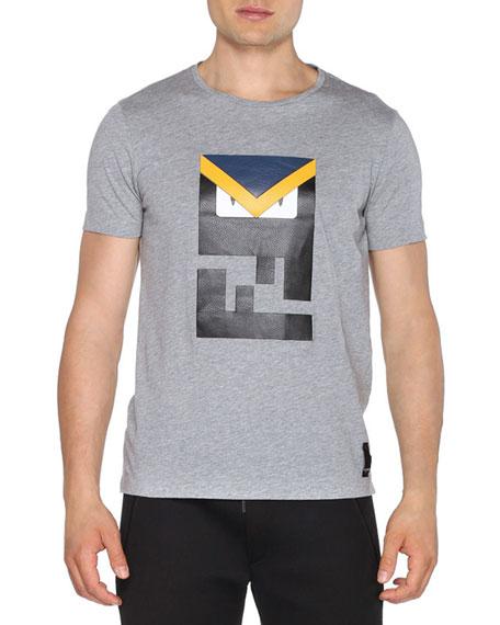 Fendi Leather Logo-Monster Eyes Crewneck T-Shirt, Dark Gray