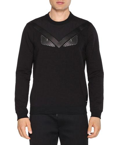 Leather Monster Eyes Crewneck Sweatshirt, Black