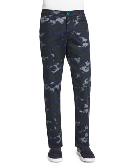 AG Adriano Goldschmied Graduate Camo-Print Jeans, Blue Pattern