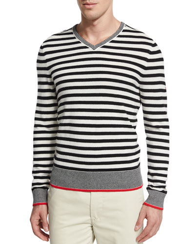 Renton Striped V-Neck Sweater, White Pattern