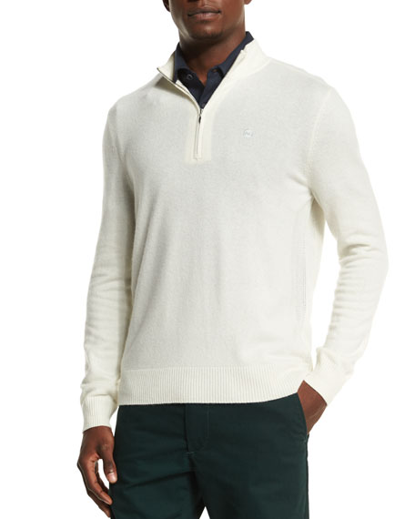 AG Adriano Goldschmied Baker Quarter-Zip Pullover Sweater, Ivory