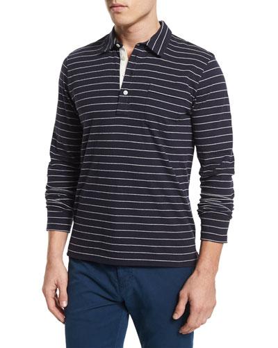 Pensacola Striped Long-Sleeve Polo Shirt, Blue
