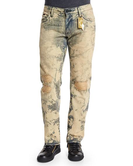 Robin's Jeans Dirty Wash Distressed Denim Jeans, Beige