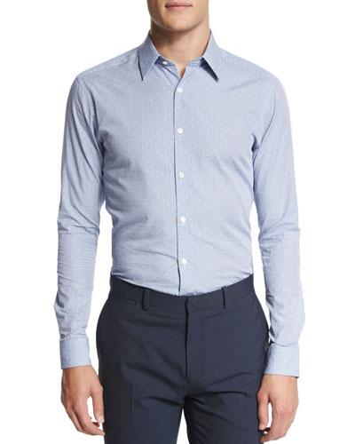 Sylvain Replete Printed Button-Down Shirt, Light Blue