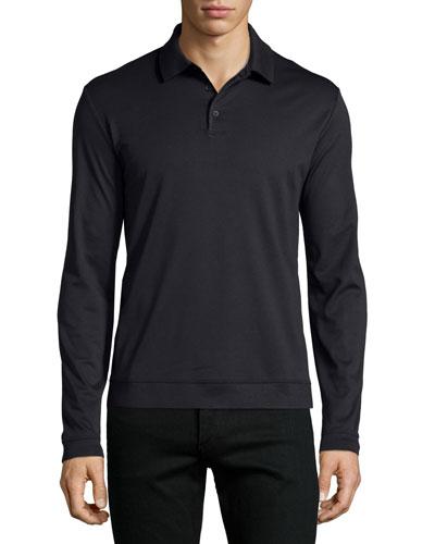 Petrik Long-Sleeve Jersey Polo Shirt, Black