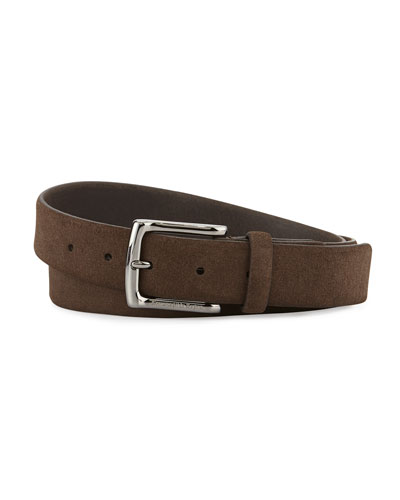 Chukka Suede Coordinate Belt, Dark Brown