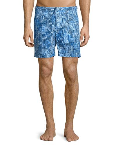 Bulldog Geometric-Print Swim Trunks, Blue Pattern