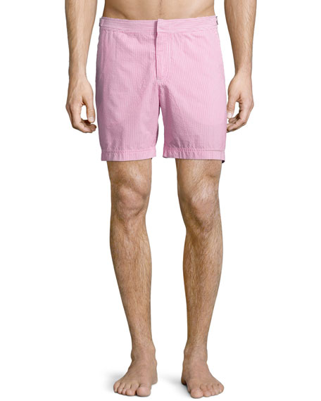 Orlebar Brown Bulldog Seersucker Swim Trunks, Pink