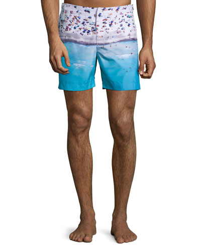 Bulldog Beached Print Swim Trunks, Blue Pattern