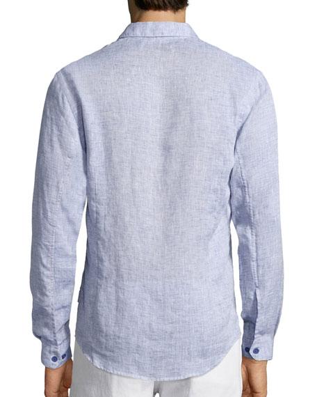 Morton Long-Sleeve Linen Shirt, Navy