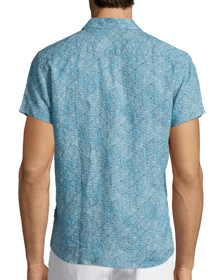 Batik-Print Short-Sleeve Linen Shirt, Teal