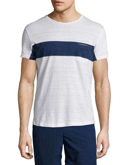 Chest-Stripe Short-Sleeve T-Shirt, Navy