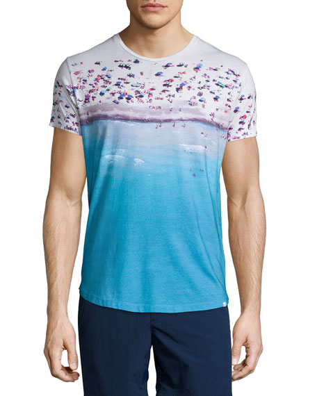 Orlebar Brown Beach-Print Short-Sleeve T-Shirt, Blue Pattern
