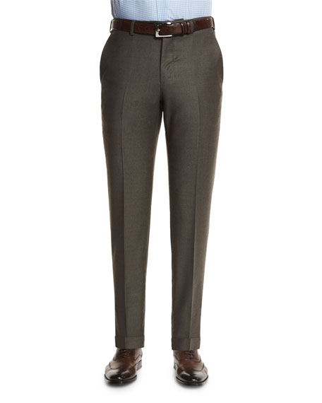 Ermenegildo Zegna Trofeo Wool Flat-Front Trousers, Olive