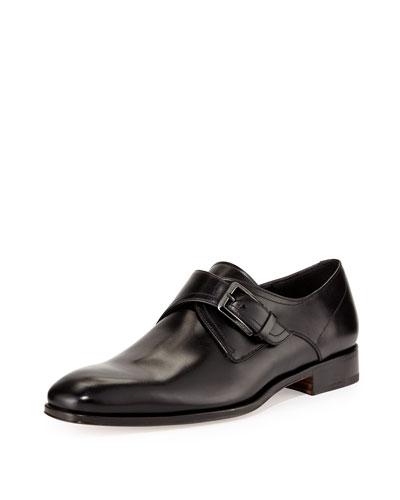 Modugno Single-Monk Leather Shoe, Black