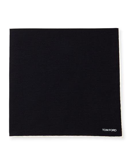 Solid Silk Pocket Square, Charcoal Black