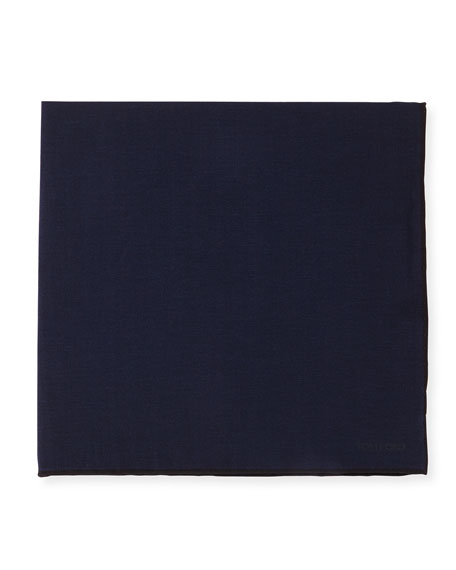 Solid Silk Pocket Square, Navy/Black