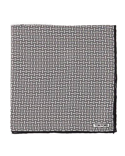 Interlocking-Print Pocket Square, White/Black