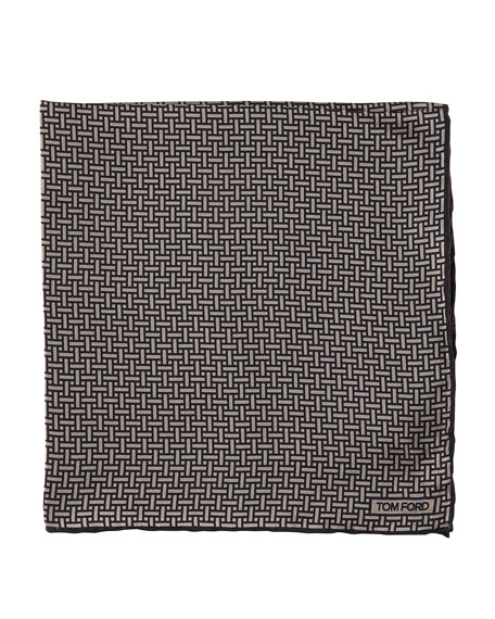 Interlocking-Print Pocket Square, Charcoal