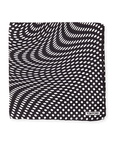 Stretch-Dot Print Pocket Square, Black