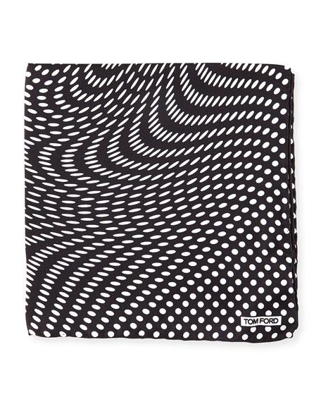 Stretch-Dot Print Pocket Square, Black