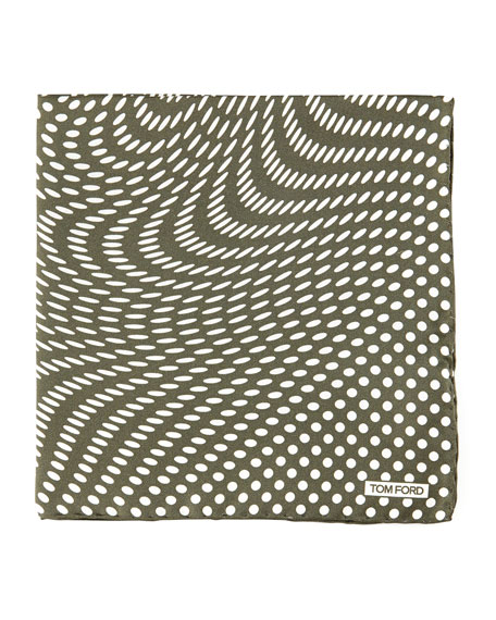 Stretch-Dot Print Pocket Square, Navy