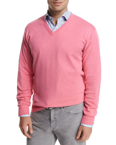 Cashmere-Blend V-Neck Sweater, Pink