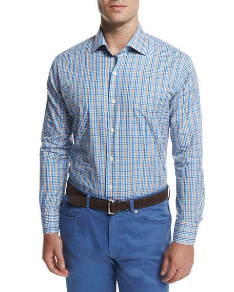 Peter Millar Multi-Check Long-Sleeve Sport Shirt, Navy
