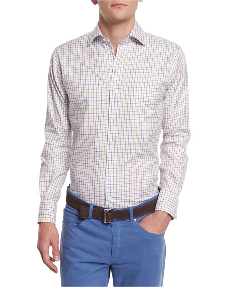 Peter MillarNanoLuxe Pinwheel Plaid Sport Shirt, White