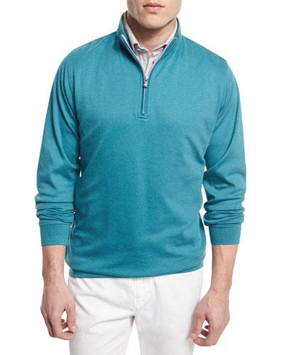 Interlock Quarter-Zip Pullover Sweater, Medium Blue